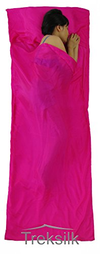 TREKSILK: HOT PINK 100% MULBERRY SINGLE SILK LINER Sleeping Bag Inner Sheet Travel Sleep Sack