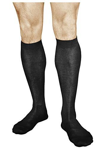 Vitsocks Knee High Dress Socks for Men (2x PACK) 100% COTTON, Over-the-calf Length, Thin & Breathable