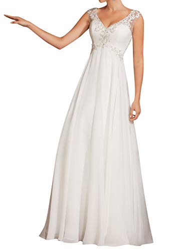 JAEDEN Beach Wedding Dress for Bride Chiffon V Neck See Through Bride Dress Empire Waist