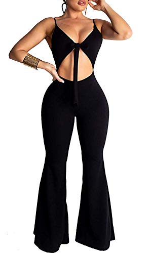 ThusFar Women's Sexy Sleeveless Spaghetti Strap Bandage Hollow Out Bodycon Wide Leg Bell Bottom Jumpsuit Rompers Black ()