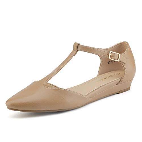 - DREAM PAIRS Women's Nude Pu Low Wedge Ballet Flats Shoes Size 5 M US Estella