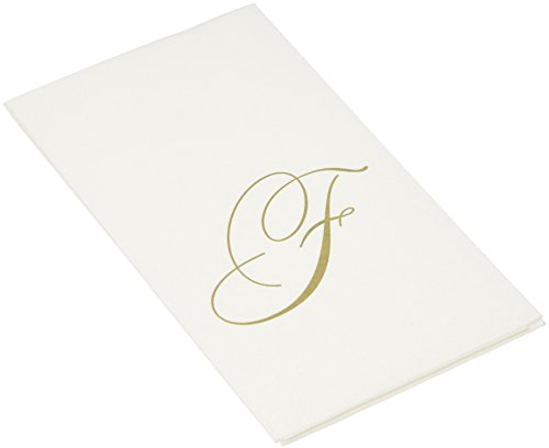 (Entertaining with Caspari White Pearl Paper Linen Guest Towels, Monogram Initial F, Pack of)
