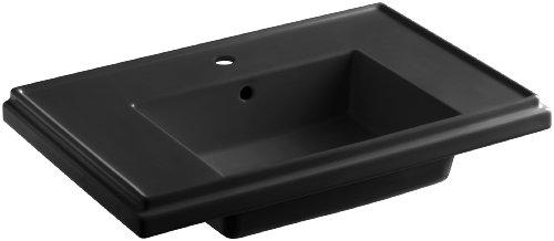 KOHLER K-2758-1-7 Tresham 30-Inch Pedestal Bathroom Sink Basin with Single-Hole Faucet Drilling, Black 30 Tresham Pedestal Lavatory