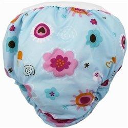 Kushies Potty Taffeta Training Pants - Medium - Blue Flowers