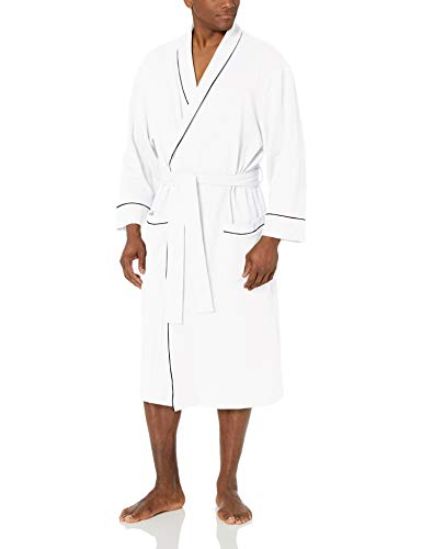 Amazon Essentials Men's Waffle Shawl Robe Sleepwear, -White, XL/XXL