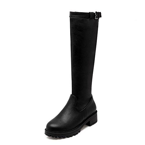 AllhqFashion Damen Hoch-Spitze Rein Ziehen auf Niedriger Absatz Stiefel mit Schnalle Schwarz