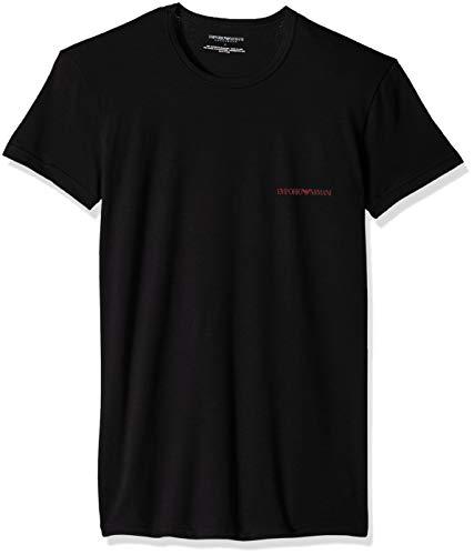 - Emporio Armani Men's Stretch Cotton 2 Pack Crew Neck T-Shirt, Black Large