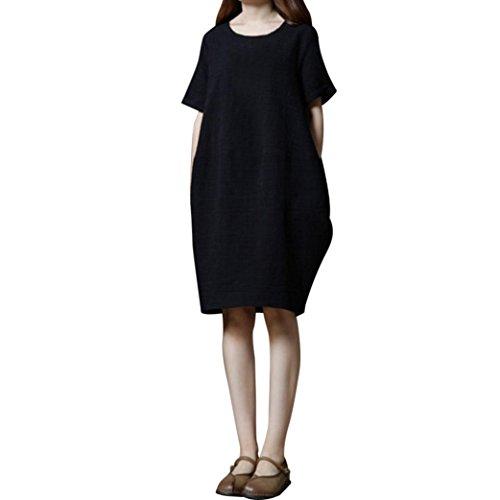 JYC Verano Falda Larga,Vestido De La Camiseta Encaje,Vestido Elegante Casual,Vestido Fiesta Mujer Largo Boda, Tamaño Algodón Sólido Suelto Corto Manga Vestir Negro