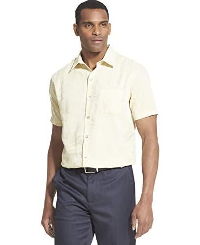 Van Heusen Men's Air Tropical Short Sleeve Button Down Poly Rayon Shirt, Yellow Vanilla Custard, -