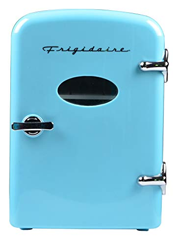 - Frigidaire Retro Mini Compact Beverage Refrigerator, Great for keeping office lunch cool! (Blue, 6 Can)
