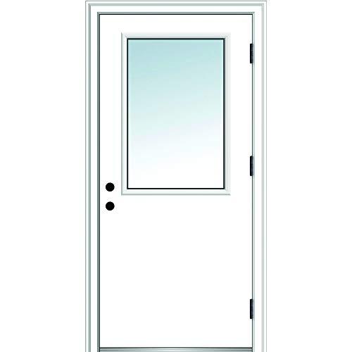 National Door Company ZZ364669L Steel, Primed, Left Hand Outswing, Prehung Door, 1/2 Lite Clear Glass, 30