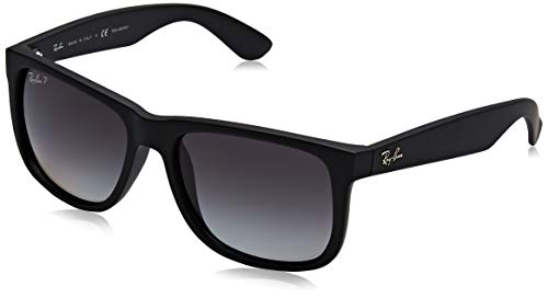 - Ray-Ban RB4165 Justin Rectangular Sunglasses, Black Rubber/Polarized Grey Gradient, 55 mm