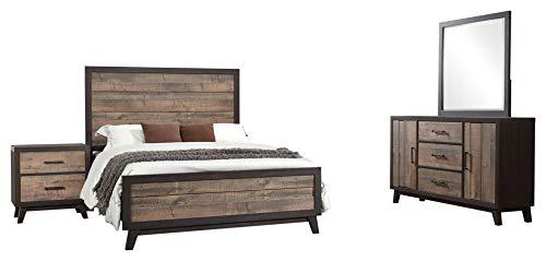 Calista 4 Piece Bedroom Set, King, Rustic Mahogany & Dark Ebony Frame Wood, Rustic (Panel Bed, Dresser, Mirror, 1 Nightstand)