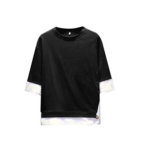 Stoota Men's Summer Henley Shirt,Casual Fashion Patchwork O-Neck Half Sleeve Top Black