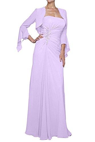 Partykleider Brautmutterkleider mit Bolero Chiffon Braut Festlichkleider Abendkleider Elegant mia Langes Lilac Langarm La UYq8On