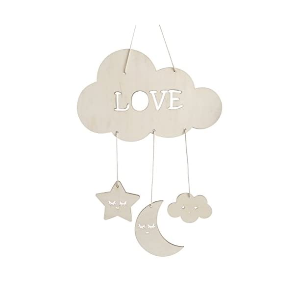 BESTOYARD Nursery Ceiling Mobile Clouds Moon Stars Ceiling Hanging Decorations for Baby Shower Baby Nursery Room