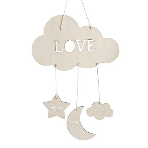 BESTOYARD Nursery Ceiling Mobile Clouds Moon Stars Ceiling Hanging Decorations for Baby Shower Baby Nursery Room (Ceiling Cloud Wood)