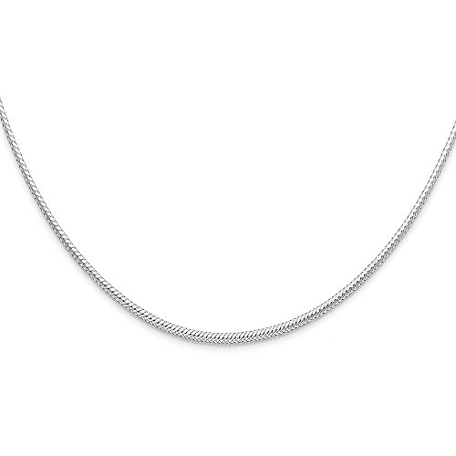 FB Jewels 14K White Gold 2mm Sparkle Omega Chain Necklace 17 -