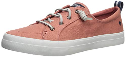 (SPERRY Women's Crest Vibe Linen Sneaker, Nantucket red, 075 M US)