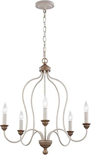 Feiss F2998 5CHKW BW Hartsville Farmhouse Candle Chandelier Lighting, White, 5-Light 24 Dia x 26 H 300watts