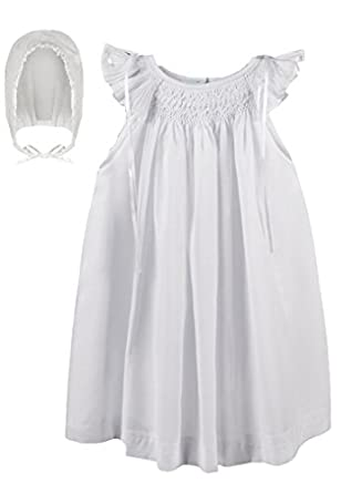 1920s Children Fashions: Girls, Boys, Baby Costumes White Cotton Christening Gown Baptism dress with bonnet Hand Smocked $45.00 AT vintagedancer.com