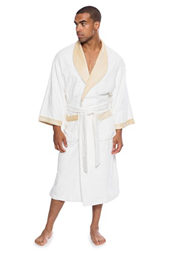 Men's Terry Cloth Bath Robe - Comfortable Gift for Him by Texere (Turilano, Natural White, Large/X-Large) Luxury Bathrobes for Him MB0102-NWH-LXL (Texeresilk Robe Mens)