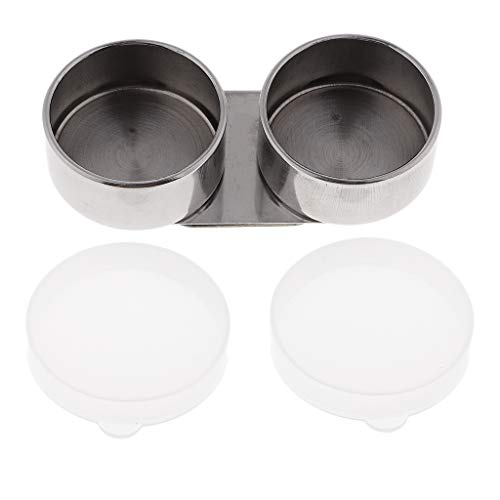 Baosity Artists Stainless Steel Double Dipper Painting Pot Palette Clip Cup Container with Plastic Lid