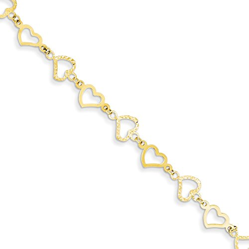14k Yellow Gold Flat Hearts Bracelet 7.25 Inch/love Fine Jewelry Gifts For Women For Her