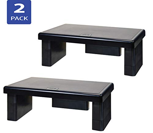 - DAC STAX Adjustable, Stackable Desktop Computer Monitor Stand, Laptop Riser, Supports up to 66 Pounds, Medium Size, 2-Pack, for Dual Monitor Setup