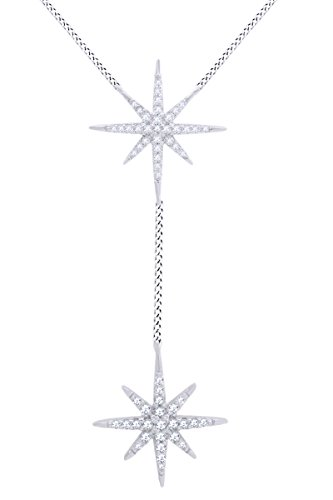 AFFY Round White Cubic Zirconia Starburst Pendant in 14k White Gold Over Sterling Silver ()