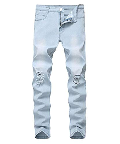 OBT Boy's Light Blue Stretch Skinny Fit Ripped Destroyed Distressed Fashion Slim Denim Jeans 16