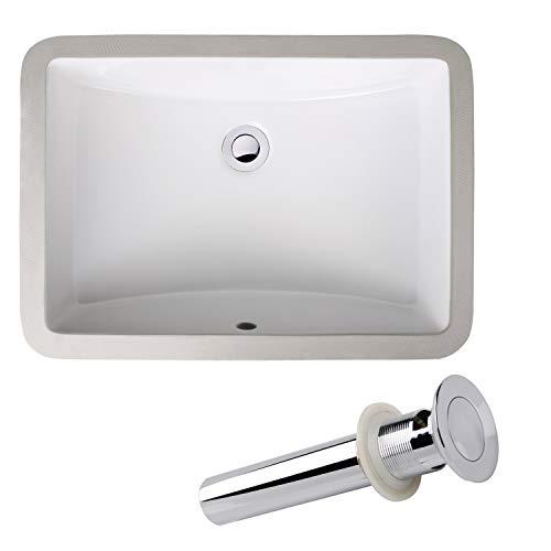 Enbol ECU1812S Rectangular Undermount Porcelain Ceramic Lavatory Bathroom Vanity Sink White with Overflow and Pop up Drain Combo