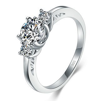 BORUO 925 Sterling Silver Ring, Cubic Zirconia CZ Diamond Eternity Engagement Wedding Band Ring Size 6