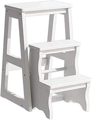 STOOL Escalera con peldaño Taburetes con peldaños para el hogar, escalera de tijera plegable Taburete de madera con 3 peldaños para adultos Cocina para niños Escaleras de madera Taburetes pequeños pa: Amazon.es: