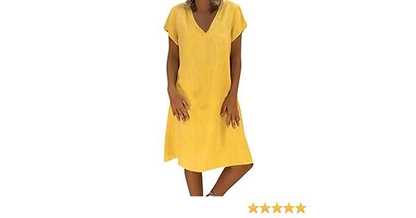 Bestow Vestido de Lino de Verano para Mujer Vestido Camiseta Algod¨®n Casual Tallas Grandes Vestido de Damas