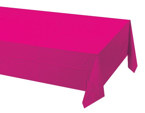 Creative Converting Touch of Color Plastic Table Cover, 54 by 108-Inch, Hot Magenta]()