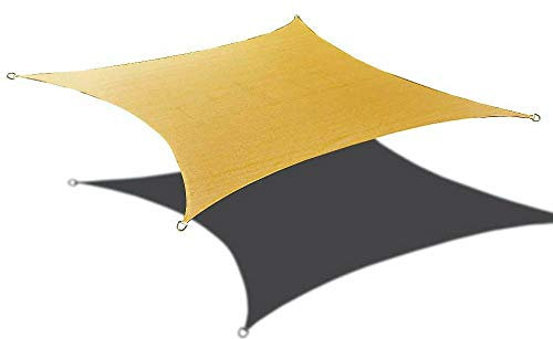 Alion Home 12' x 12' Waterproof Woven Sun Shade Sail in Vibrant Colors (Desert Sand)