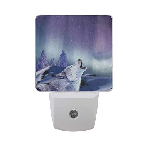 - Night Light Howling Wolf Galaxy Plug-in LED Night Lamp with Light Sensor Bathroom Toilet Bedroom Kitchen Wall Decorative Daylight White for Kids Childrens 2 Pack