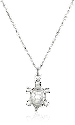 Sterling Silver Turtle Pendant Necklace, (Silver Turtle Necklace)