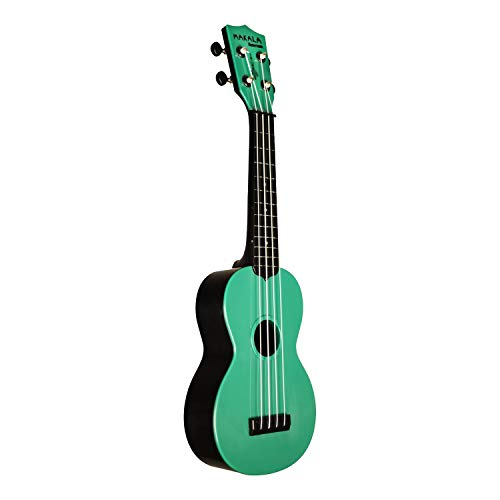 Kala Makala Waterman Soprano Ukulele with Color Top/Black Back (Seafoam Green)