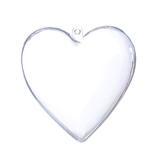 Seekingtag Clear Plastic Heart Shape Box Fillable Ornaments 80mm - Pack of 10