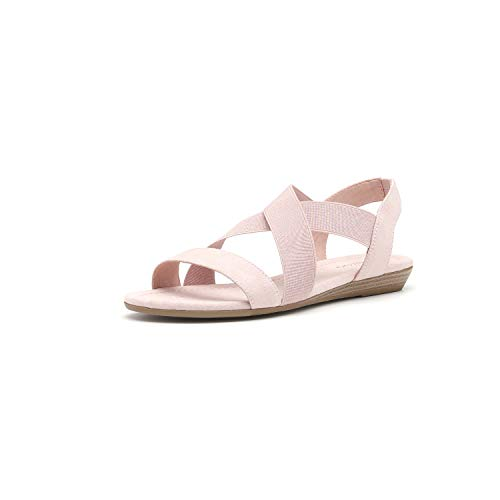 - Women's Elastic Flat Sandals Criss-Cross Open Toe Wide Strap Casual Summer Shoes (9, Pink)