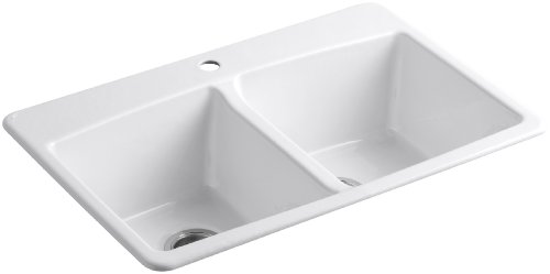 - KOHLER K-5846-1-0 Brookfield Top-Mount Double-Equal Bowl Kitchen Sink with Single Faucet Hole, White