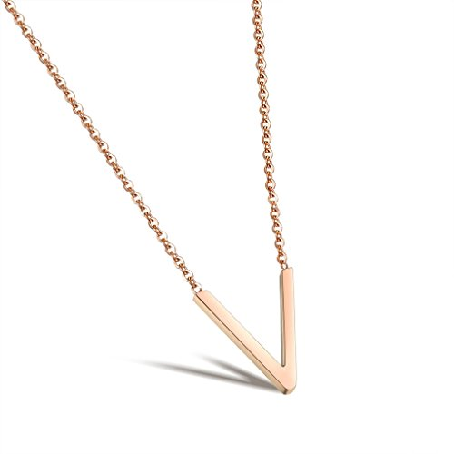 [V Pendants Necklace Lady Initial Rose Gold-Plated Stainless Steel Short Chain 380 Mm Dalaran] (Old Navy Halloween Costumes Elephant)