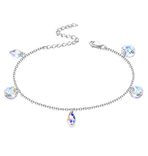 KesaPlan Aurora Round Crystal Bracelet for Women Girls Teardrop Link Bracelet, Made with Swarovski Crystal, 7