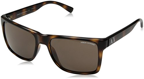 Armani Exchange Plastic Unisex Square Sunglasses, Havana, 57.6 mm by A|X Armani Exchange