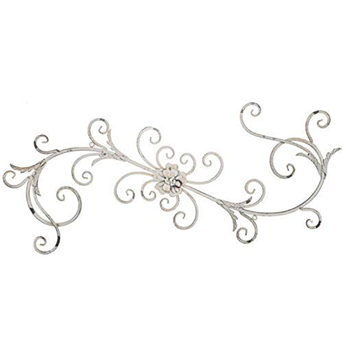 K&N41 Indoor Décor Vintage Wall Art White Floral Swirl Metal Antique Style Sculpture Shabby Chic Home Decor