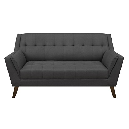 Emerald Home Binetti Charcoal Sahara Pebble Loveseat with Angular Arms And Legs, Deep Tufting, And Stitching Details