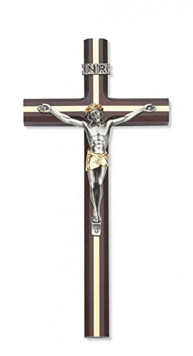 10 Inch Cherry Crucifix Gold Inlay Tutone Corpus Gift Box Included Made in the USA