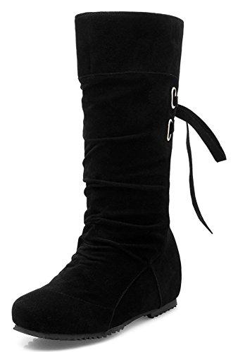 Idifu Womens Fashion Lage Sleehakken Verhogen Faux Suede Middenkuitlaarzen Booties Lace Up Zwart